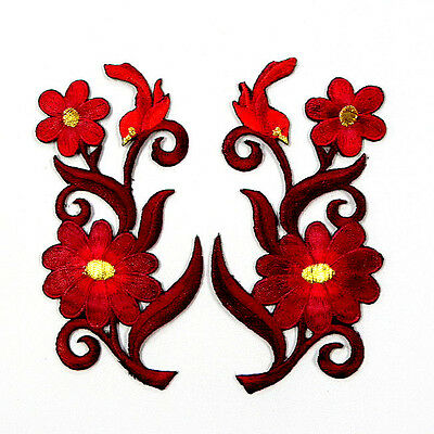 I0611 x1Pair (2pcs) D/Red Flower Boho Bird Iron On Patch Embroidered Bouquet