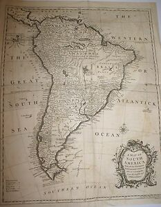 SOUTH-AMERICA-ANTIQUE-MAP-1745-BRAZIL-ARGENTIA-RAPIN-HISTORY-OF-EUROPE