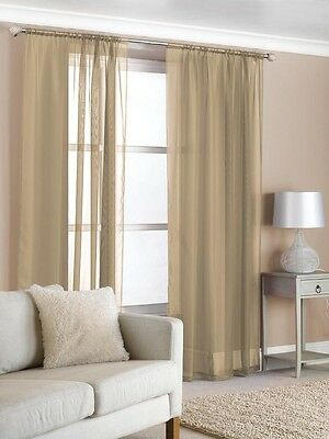 2 Slot Top Voile Net Panels,  Voiles Curtains Pair.  Rod Many Sizes & Colours