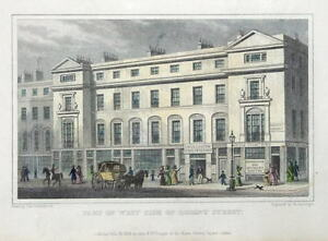 REGENT-STREET-WEST-SIDE-LONDON-Original-Hand-Coloured-antique-print-1829