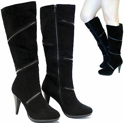 New women's shoes knee high fashionable boots high heel suede like black