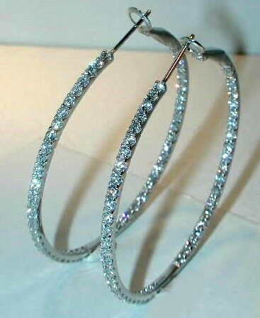 1.89CT DIA HOOPS-1 1 4  INCHES-INSIDE AND OUTSIDE-18K WG