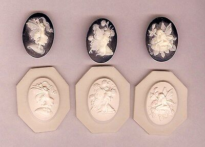 Lot of 3 Fairy Cameo, Polymer Clay Push Molds 25x18mm Beautifully-Detailed