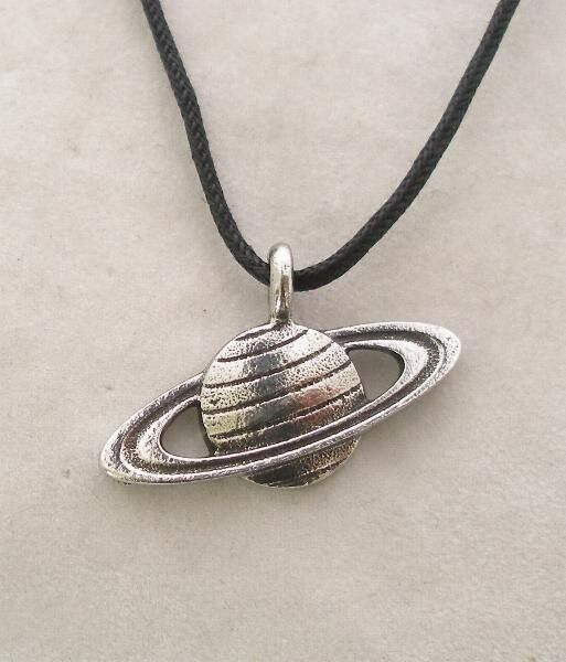Planet Saturn Pendant in Fine English Pewter, Handmade, Space