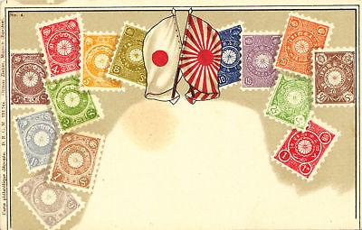Japan-briefmarken-fahnen-litho-ak Um 1900 Diversifiziert In Der Verpackung