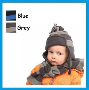 Babies-Toddlers-Fleece-Hat-amp-or-Scarf-Blue-or-Grey-Baby-Boy-FREE-P-amp-P