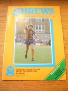 06101981 Shrewsbury Town v West Bromwich Albion Football League Cup Slight - <span itemprop=availableAtOrFrom>Birmingham, United Kingdom</span> - Returns accepted within 30 days after the item is delivered, if goods not as described. Buyer assumes responibilty for return proof of postage and costs. Most purchases from business s - Birmingham, United Kingdom