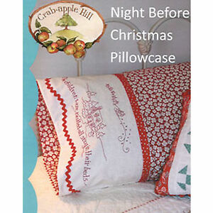 Crabapple Hill Night Before Christmas Pillowcase Stitchery