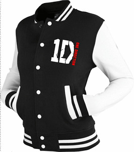 ONE-DIRECTION-inspired-Varsity-Jacket-Top-1D-tour-black-white-S-M-L-XL