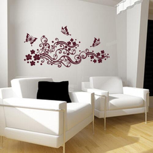 floral wall art sticker decal beauty salon FLOWERS swirls FILIGREE BUTTERFLIES