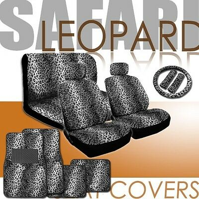 NEW UNIVERSAL SNOW LEOPARD CAR SEAT COVERS STEERING MAT