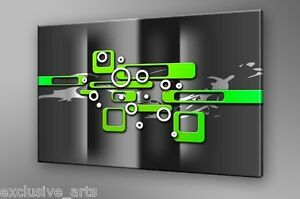 PREMIUM-GRADE-GALLERY-WRAPPED-ABSTRACT-WALL-ART-CANVAS-PRINT-LIME-GREEN-GRAY-A1