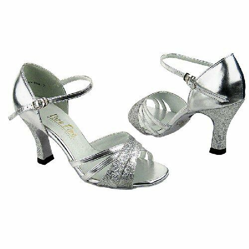 "Salsa Ballroom Latin Dance Shoes Silver heel 3"" Sz 8.5"