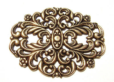 1546  Antiqued Brass Sterling Silver Filigree Oval Centerpiece Component Charm