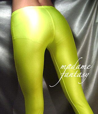 Neon Yellow Shiny Opaque Spandex Leggings Xs-xxxl Tall