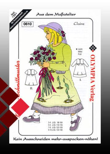 romantico niños vestido Patrones de corte ligeramente tamaños de 98-104,110-116,122-128