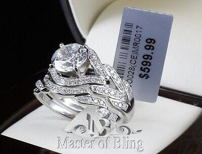 WOMENS STERLING SILVER 925 DESIGNER WEDDING ENGAGEMENT RING BRIDAL SET BAND 3 CT