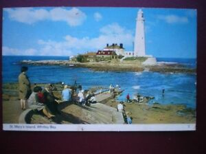 POSTCARD-RP-NORTHUMBERLAND-WHITLEY-BAY-ST-MARY-039-S-ISLAND