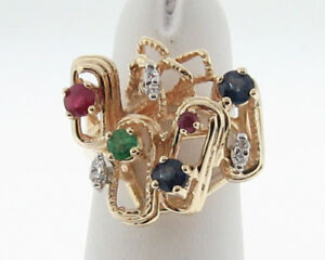 Natural-Ruby-Diamond-Sapphire-Emerald-14k-Gold-Ring