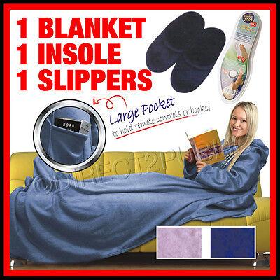 3 IN 1 CUDDLE BLANKET MEMORY FOAM SLIPPERS FLEECE SNUGGLE RUG WRAP SNUG SLEEVES