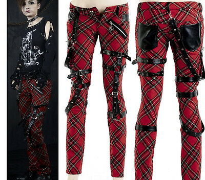 Punk Visual Kei Black STUB SLIM Zip Up K124 Red CHECKER PANTS S-2XL Tartan ア