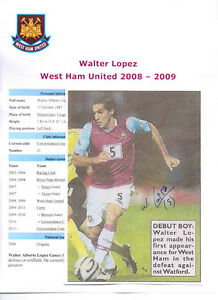 WALTER-LOPEZ-WEST-HAM-UNITED-2008-2009-ORIG-HAND-SIGNED-PHOTOGRAPH-VERY-GOOD