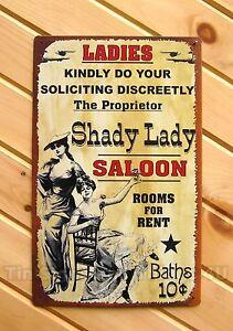 Shady-Lady-Saloon-FUNNY-TIN-SIGN-vtg-retro-rustic-metal-western-decor-bar-ad-OHW