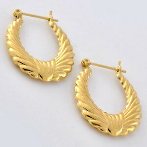gold shrimp earrings 14k solid gold shrimp hoop earrings 22 mm x 18 mm 3460
