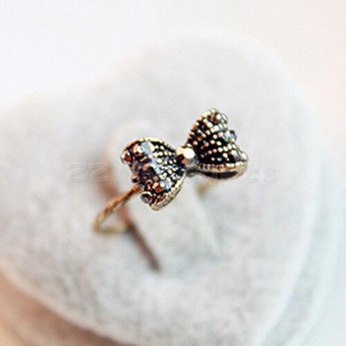Korean Fashion Retro Lovely Sweet Rhinestone Crystal Beads Bowknot Bow Tie Ring