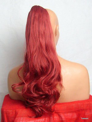 "Clip in Hair Pony Tail Hair Extension Pieces Wavy Rouge Rubine Red - 21"" JADE"
