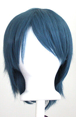 11'' Short Straight Layered Steel Blue Synthetic Cosplay Wig NEW