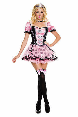 Sexy Adult Halloween Music Legs Pink Couture Queen of Heart Princess Costume