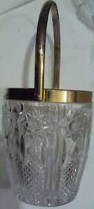 VINTAGE-DIAMOND-CUT-PRESSED-GLASS-CRYSTAL-ICE-BUCKET-WITH-GOLD-RIM-amp-HANDLE
