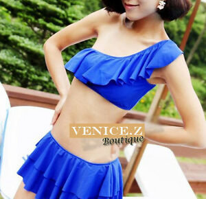 SALE-BNWT-3pc-Flounce-Bikini-Set-Bather-Layered-Ruffle-Skirt-Blue-Size-8-10