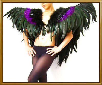 BLACK PURPLE Drag Queen CABARET Feather SHOULDER COLLAR