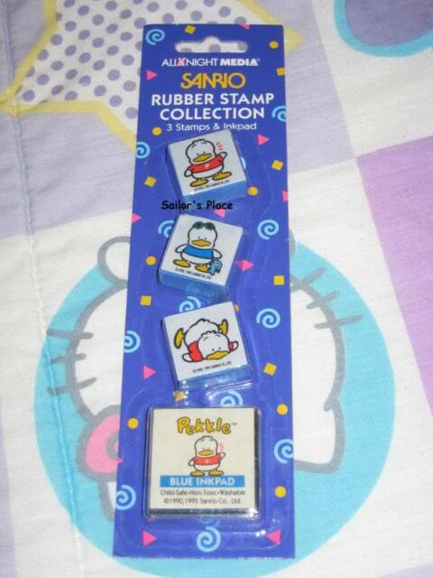New Sanrio Pekkle duck rubber stamps with ink pad - Hello Kitty's friend - Blue