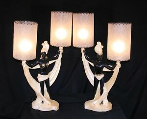 Vtg-Pair-Continental-Art-Co-Art-Deco-Male-amp-Female-Dancer-Lamps-Mid-Century