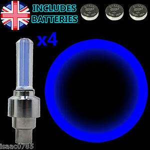 4-x-BLUE-LED-Neon-Car-Bike-Wheel-Tire-Valve-Dust-Cap-Spoke-Lights-Safety-New