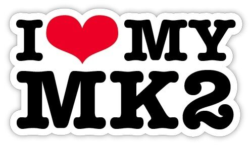 I LOVE MY MK2 VW GOLF CAR STICKERS exterior decal 130mm wide