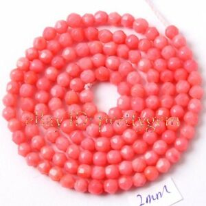 2mm tiny faceted shape pink coral gemstone spacer