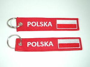 Embroidered-Polska-Poland-Polish-Flag-Keyrings-Keychains-14cm-x-2-7cm