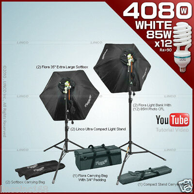 PHOTO LIGHTING 4080w SOFTBOX FLUORESCENT CONTINUOUS KIT LINCO FLORA COOL