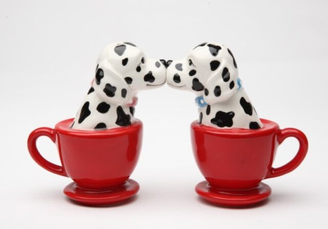 Kissing Dalmatian Dogs in Tea Cup Ceramic Magnetic Salt and Pepper Shakers