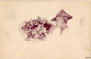SEPIA SMOKE SOLDIER AND WOMAN CPYRT 1909 SCOFIELD 1912