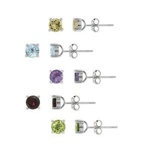 925-Silver-5-2ct-Multi-Color-Gemstone-5mm-Stud-Earrings-Set-of-5