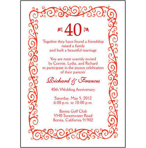 Image Is Loading 25 Personalized 40th Wedding Anniversary Party Invitations Ap