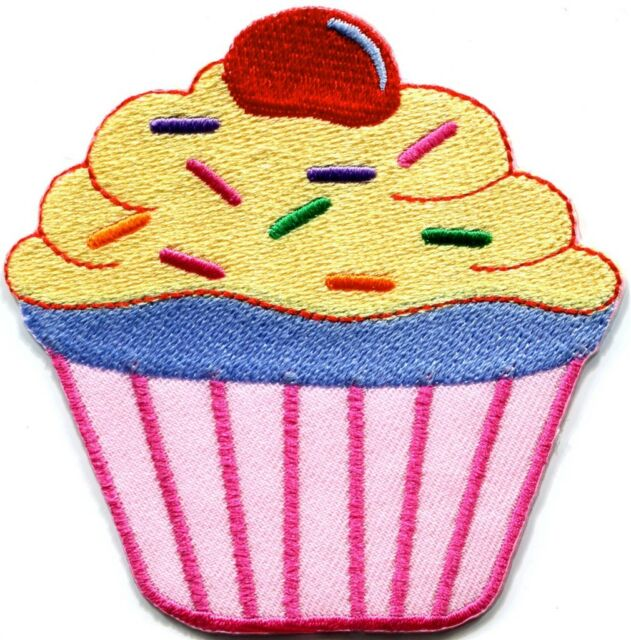 Cupcake retro fairy cake cup sweets dessert applique iron-on patch new S-591