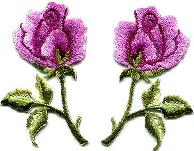 Pink roses pair flowers floral retro boho hippie applique iron-on patch S-413