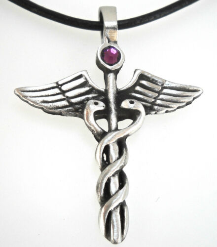 Pewter CADUCEUS Medical DR RN Nurse AMETHYST Crystal FEBRUARY Birthstone Pendant