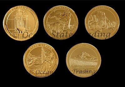 2010 24 kt Gold Plated Complete Set Of National Park Quarters - P + D (10 Coins)
